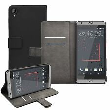 Wallet BLACK Leather Flip Case Cover For HTC Desire 530 + 2 protectors