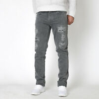 Nudie Herren Slim Fit Bio Denim Jeans Hose - Grim Tim Grey Phantom Destroyed