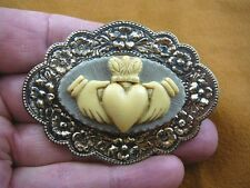 cm38-84) traditional CLADDAGH heart hands Gray CAMEO Pin Pendant Jewelry brooch
