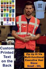 Personalised Custom Hi Vis Zip Executive Vest Hi Viz Vest With Phone ID Pockets