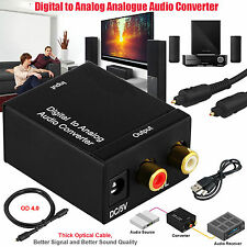 Digital Optical Coax Toslink to Analog Audio RCA L/R Adapter Stereo Converter