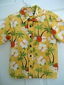 NEW Boys XS 3-4 GYMBOREE Yellow Green HAWAIIAN Button SHIRT S/S Beach Palm Tree
