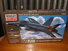 F-18 US NAVAL AVIATION CENTENNIAL PLANE, 1/72 SCALE, MINICRAFT, NEW, 2013