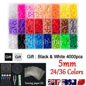 5mm For Perler/Hama Beads Kit Kids Fun DIY Craft 24/36 Colours Set Gift Toys AU