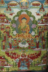 Tibet Cloth Silk Embroidery Shakyamuni Amitabha Buddha Buddhas Thangka Thanka