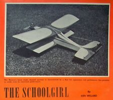 "Vintage SCHOOLGIRL Willard's 1/2A 34"" 3-Channel PLAN +Article for Model Airplane"