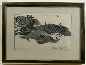 Stefan Martin birds doves Etching original Art Print on paper, signed, has stain