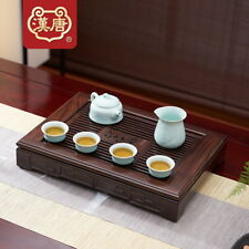 Ebony Solid Wood Gongfu Tea Serving Tray Reservoir & Drainage Type 42x30x7cm