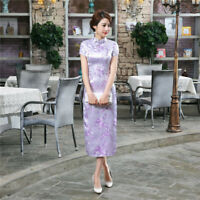Chinese Traditional Long Cheongsam Women Silk Satin Maxi Dress Party Qipao S-6XL