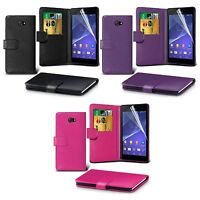 FOR SONY XPERIA M2 WALLET BOOK FLIP PU LEATHER WITH SCREEN PROTECTOR CASE COVER