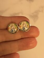 Silver Stud Earrings 12mm Peter Rabbit Carrot Cabochon