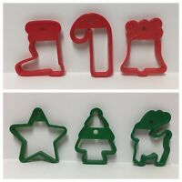 VTG Christmas Cookie Cutter Set Stocking Candy Cane Bell Star Reindeer Xmas Tree