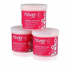 3 X The Hive of Beauty Pink Sensitive Creme Depilatory Wax 425g Hair Removal
