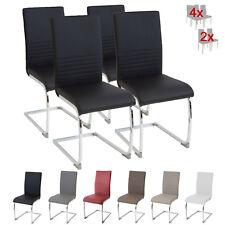 Esszimmerstühle BURANO 4er Set Schwarz - Freischwinger Schwing-Stuhl Leder Chrom