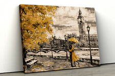 London Yellow Tree Black white Oil Painting Framed Canvas Print Wall Art pp100