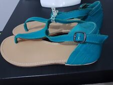 💕💕 New WOMEN'S NOVO HAVANA TURQUOIS LEATHER SANDALS FLATS SHOES US 9 OR 40 EU