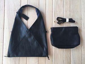 MM6 MAISON MARGIELA Style Lot 2 NWOT Womens Black Faux Leather Lined Bag Handbag