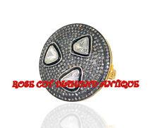 VINTAGE ANTIQUE ROSE CUT DIAMOND 3.78ct SILVER ATTRACTIVE POLKI WEDDING NEW RING