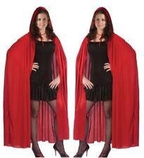 Adult Ladies Girls RED RIDING HOOD LONG CAPE Fancy Dress Costume Halloween Party