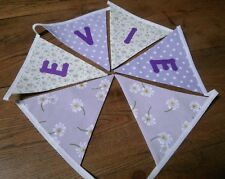 Personalised Name Bunting Lilac Floral/Spots £1.25 PER FLAG