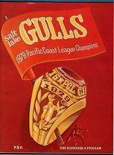 1980 PCL SALT LAKE GULLS VS PORTLAND BEAVERS PROGRAM-NEAR MINT