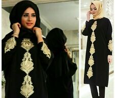 Women Long Sleeve Top Evening Party Dress Muslim Abaya Kaftan