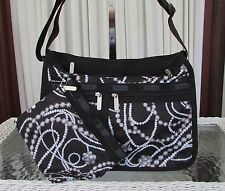 LeSportsac Deluxe Everyday Charleston Crossbody Bag & Pouch Black NWT