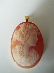 Master Hand carved Carnelian Conch Shell Cameo pendant with gold filled setting