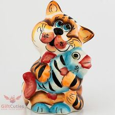 Cat with Fish Collectible Gzhel style Colorful Porcelain Figurine hand-painted
