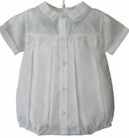 Feltman Brothers Infant Boys White Dressy Outfit with Blue Train