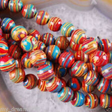 """Beautiful 6mm red Multicolor Turquoise Stone Round Gemstone Loose Beads 15"""""""