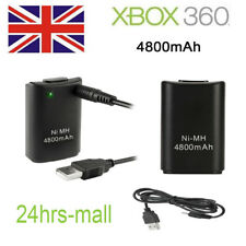 UK 4800mAh 2X Wireless Controller Rechargeable Battery Pack for Xbox 360 Black