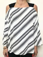 COUNTRY ROAD white grey black stripe open shoulder 3/4 sleeve tunic top sz small
