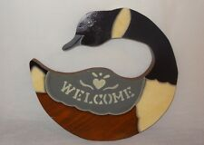 Vintage Welcome Canada Goose Wood Sign Door Decor Plaque Brown Black Blue