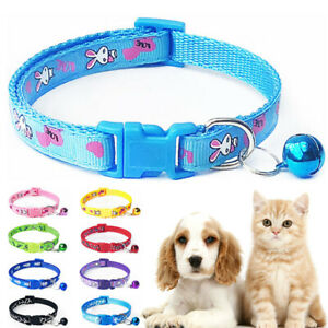 Dog Collars Pet Cat Puppy Buckle Nylon Collar with Bell Multicolor