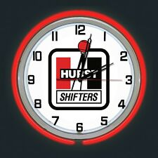 """19"""" Hurst Shifters Sign Red Double Neon Clock Chrome Case"""