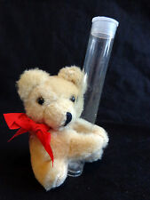 "TEDDY BEAR ORNAMENT 4"" Plush Beige Empty Tube Christmas"
