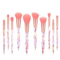 10Pcs Crystal Makeup Brushes Set Powder Blush Eyeshadow Eyebrow Blending Brush