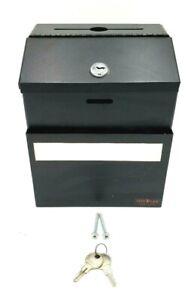 VertiFlex Black Steel Suggestion Box Lock Collection Drop Box Wall Mount 2 Keys