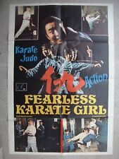 """FEARLESS KARATE GIRL Ptd Italy English Text Kung Fu Movie Poster 26.4x38.6"""" 70s"""