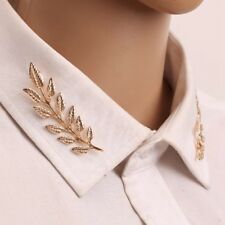 2 Pcs Unisex Leaf Men Women Brooch Collar Suit Stick Breastpin Pins Gold Silver