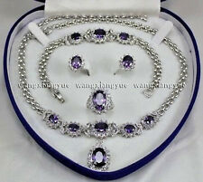 Pretty Natural Amethyst Inlay Link Bracelet earrings Ring Necklace Set AAA+