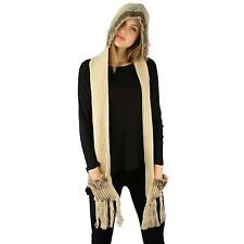 Winter Faux Animal Fur Chunky Knit Hooded Scarf Pullover Hoodie Hat Pocket Beige