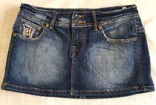 BSK BERSHKA Womens Blue Denim Skirt - Size 12- Length 26cms EUC Leopard print