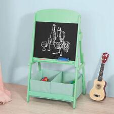 Sobuy Tableau Noir enfant chevalet en bois 2 Bacs de Rangement Kmb03-gr FR