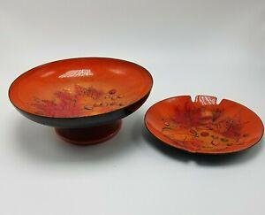 Sascha Brastoff vintage enamelware Set ashtray and matching candy footed dish