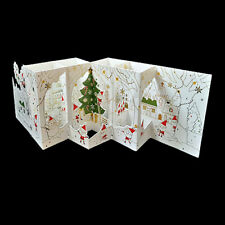 Beautiful 3D Carved Grids Santa in Christmas Season Standing Folder Card