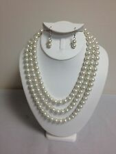 """Cream Faux Pearl Bead Hand Knotted 60"""" Flapper Single Strand Necklace Set"""