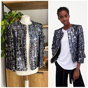Zara Woman Gun Metal Sequin Boucle Tweed Jacket Size M / UK 10 - 12 BNWOT