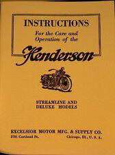 1929 Henderson Motor Cycle Streamline & DeLuxe Mdls Inst. For Care/operation